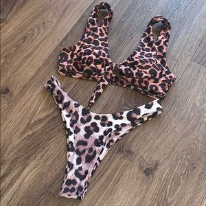 Other - Leopard two piece bathing suit